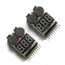 2x 2in1 Indicator 1-8s RC Lipo Battery voltage Tester low voltage Buzzer Alarm